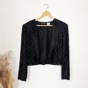 Vintage Hand Beaded Silk Black Crop Jacket Medium